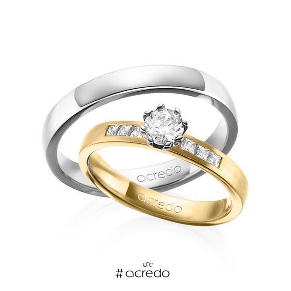 Paar klassische Trauringe/Eheringe in Gelbgold 585 mit 0,4 ct. + zus. 0,18 ct. Prinzess-Diamant & Brillant tw, si tw, vs von acredo