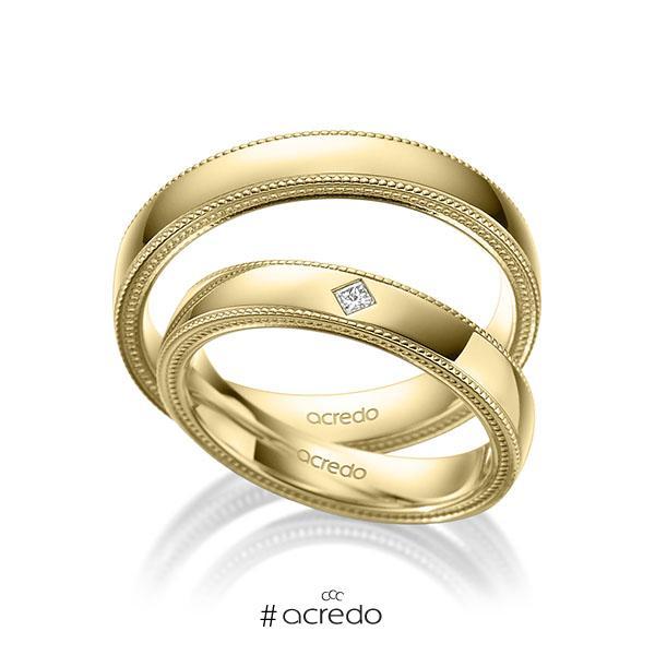 Paar klassische Trauringe/Eheringe in Gelbgold 585 mit zus. 0,03 ct. Prinzess-Diamant tw, si von acredo