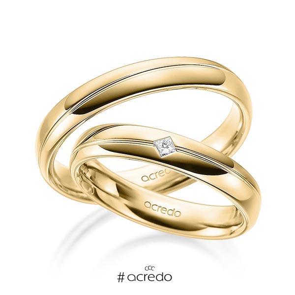 Paar klassische Trauringe/Eheringe in Gelbgold 585 mit zus. 0,04 ct. Prinzess-Diamant tw, si von acredo