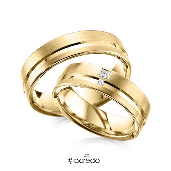 Paar klassische Trauringe/Eheringe in Gelbgold 585 mit zus. 0,065 ct. Brillant & Prinzess-Diamant tw, vs tw, si von acredo