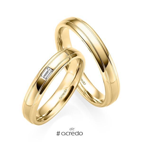 Paar klassische Trauringe/Eheringe in Gelbgold 585 mit zus. 0,06 ct. Baguette-Diamant tw, vs von acredo