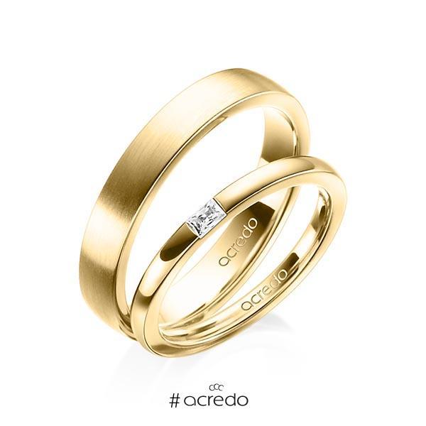 Paar klassische Trauringe/Eheringe in Gelbgold 585 mit zus. 0,07 ct. Baguette-Diamant tw, vs von acredo