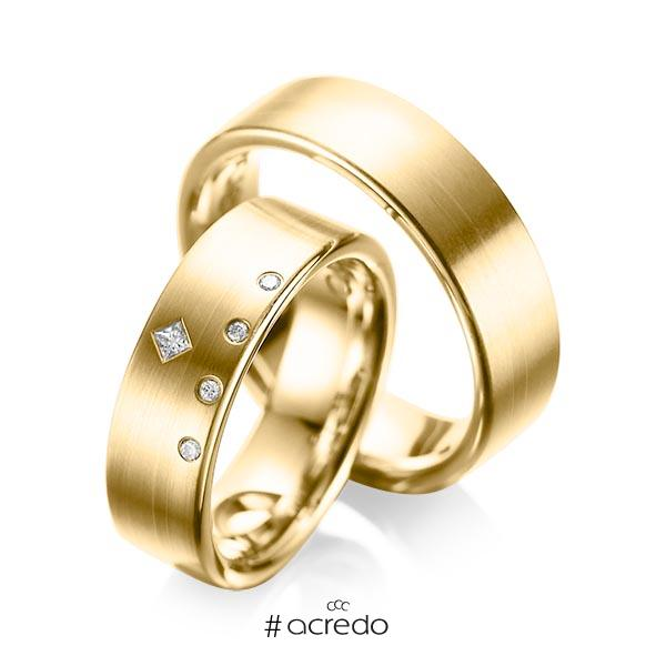 Paar klassische Trauringe/Eheringe in Gelbgold 585 mit zus. 0,07 ct. Brillant & Prinzess-Diamant tw, si tw, vs von acredo