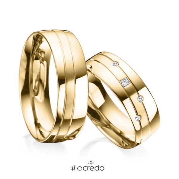 Paar klassische Trauringe/Eheringe in Gelbgold 585 mit zus. 0,07 ct. Prinzess-Diamant & Brillant tw, si von acredo