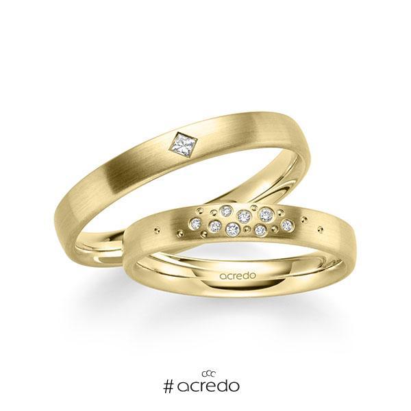 Paar klassische Trauringe/Eheringe in Gelbgold 585 mit zus. 0,081 ct. Brillant & Prinzess-Diamant tw, si von acredo