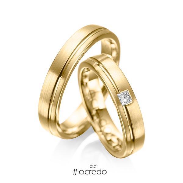 Paar klassische Trauringe/Eheringe in Gelbgold 585 mit zus. 0,08 ct. Prinzess-Diamant tw, si von acredo