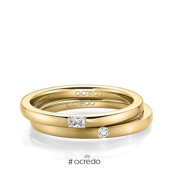 Paar klassische Trauringe/Eheringe in Gelbgold 585 mit zus. 0,095 ct. Baguette-Diamant & Brillant tw, vs tw, si von acredo