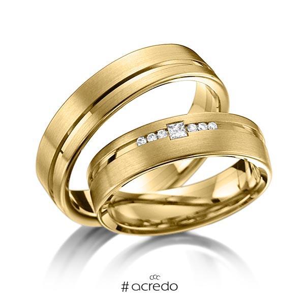 Paar klassische Trauringe/Eheringe in Gelbgold 585 mit zus. 0,098 ct. Brillant & Prinzess-Diamant tw, si von acredo