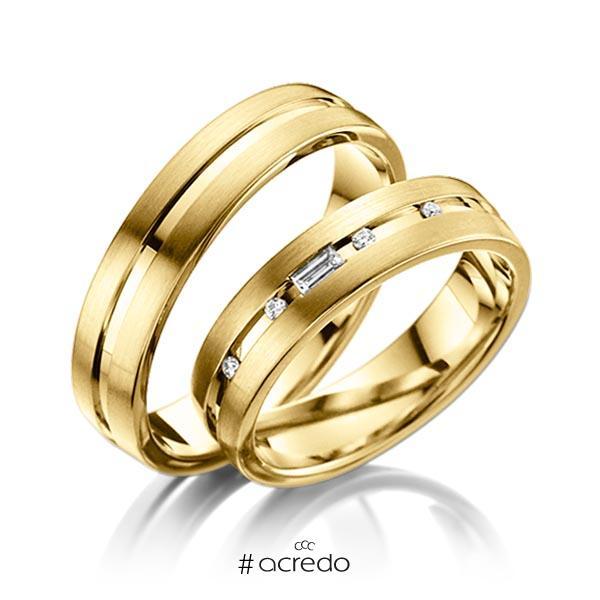 Paar klassische Trauringe/Eheringe in Gelbgold 585 mit zus. 0,09 ct. Brillant & Baguette-Diamant tw, vs von acredo