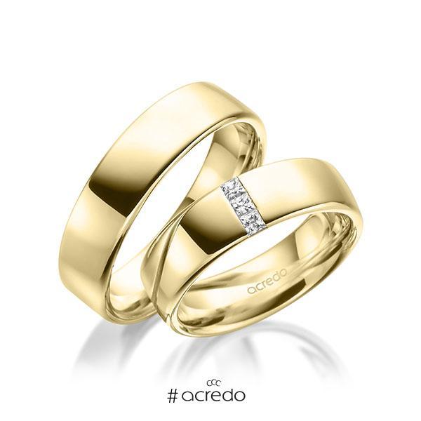 Paar klassische Trauringe/Eheringe in Gelbgold 585 mit zus. 0,12 ct. Prinzess-Diamant tw, si von acredo