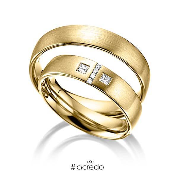 Paar klassische Trauringe/Eheringe in Gelbgold 585 mit zus. 0,132 ct. Brillant & Prinzess-Diamant tw, si von acredo