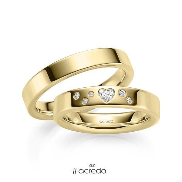 Paar klassische Trauringe/Eheringe in Gelbgold 585 mit zus. 0,146 ct. Brillant & Herz-Diamant tw, si tw, vs von acredo