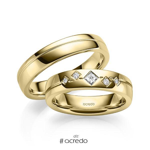 Paar klassische Trauringe/Eheringe in Gelbgold 585 mit zus. 0,146 ct. Prinzess-Diamant & Brillant tw, vs tw, si von acredo