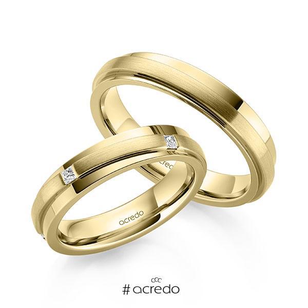 Paar klassische Trauringe/Eheringe in Gelbgold 585 mit zus. 0,15 ct. Prinzess-Diamant tw, si von acredo