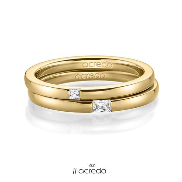 Paar klassische Trauringe/Eheringe in Gelbgold 585 mit zus. 0,1 ct. Prinzess-Diamant & Baguette-Diamant tw, si tw, vs von acredo