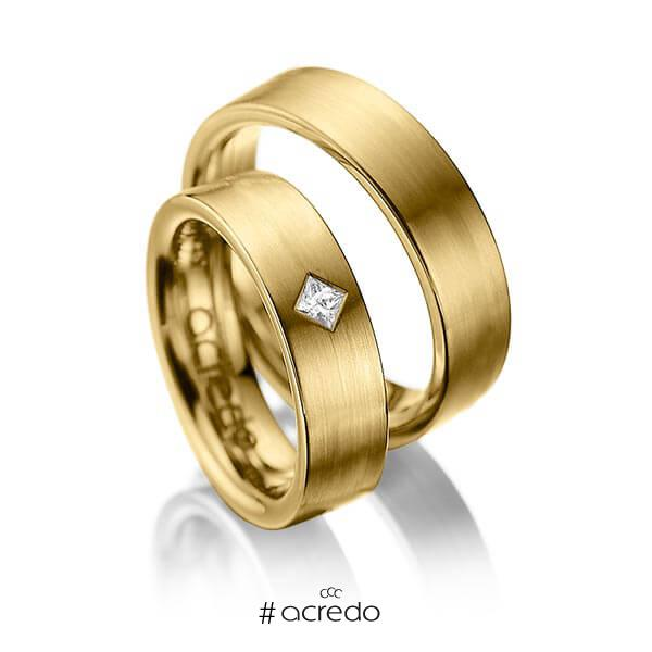 Paar klassische Trauringe/Eheringe in Gelbgold 585 mit zus. 0,1 ct. Prinzess-Diamant tw, si von acredo