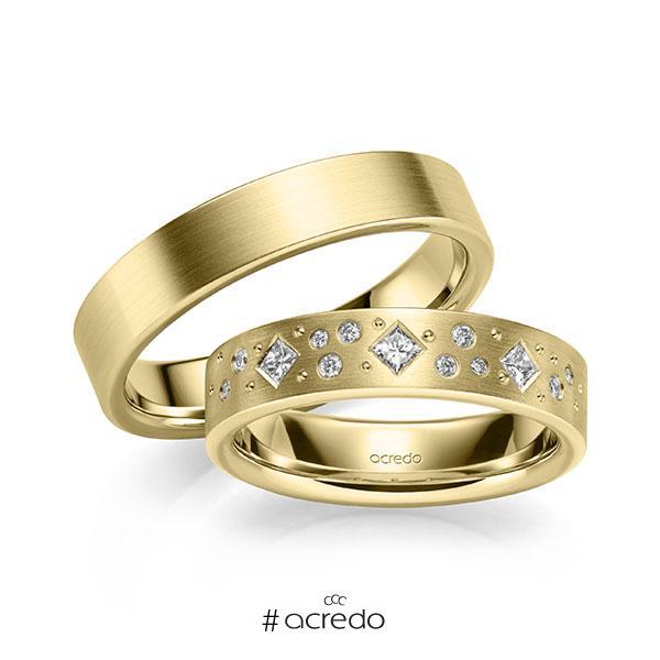 Paar klassische Trauringe/Eheringe in Gelbgold 585 mit zus. 0,226 ct. Brillant & Prinzess-Diamant tw, si von acredo