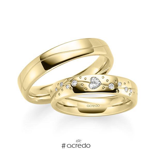 Paar klassische Trauringe/Eheringe in Gelbgold 585 mit zus. 0,266 ct. Herz-Diamant & Brillant tw, vs tw, si von acredo