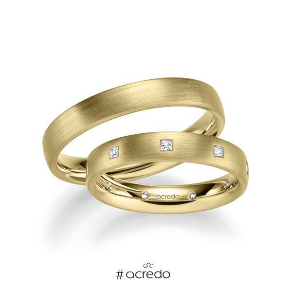 Paar klassische Trauringe/Eheringe in Gelbgold 585 mit zus. 0,27 ct. Prinzess-Diamant tw, si von acredo