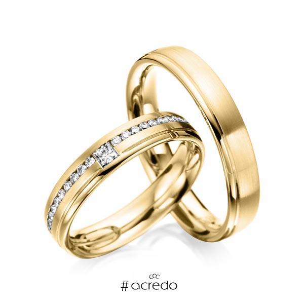 Paar klassische Trauringe/Eheringe in Gelbgold 585 mit zus. 0,32 ct. Brillant & Prinzess-Diamant tw, si von acredo