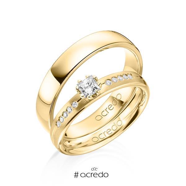 Paar klassische Trauringe/Eheringe in Gelbgold 585 mit zus. 0,33 ct. Prinzess-Diamant & Brillant tw, si von acredo