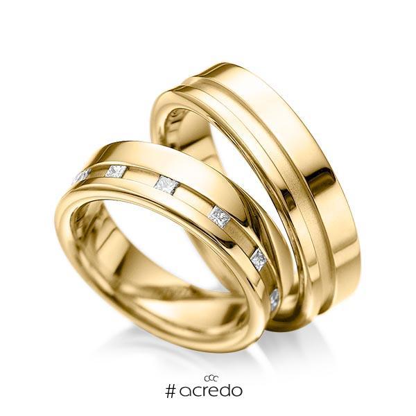 Paar klassische Trauringe/Eheringe in Gelbgold 585 mit zus. 0,36 ct. Prinzess-Diamant tw, si von acredo