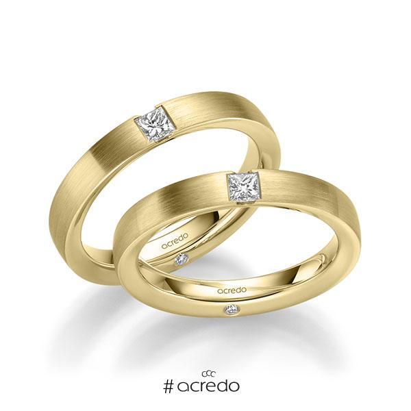 Paar klassische Trauringe/Eheringe in Gelbgold 585 mit zus. 0,44 ct. Brillant & Prinzess-Diamant tw, si von acredo