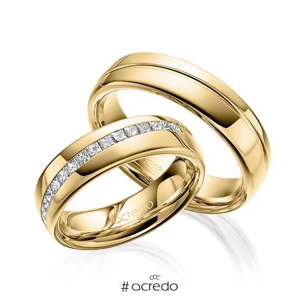 Paar klassische Trauringe/Eheringe in Gelbgold 585 mit zus. 0,48 ct. Prinzess-Diamant tw, vs von acredo