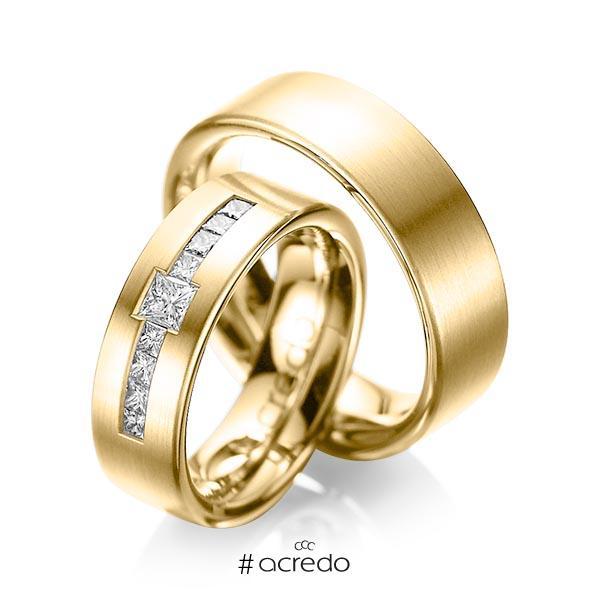 Paar klassische Trauringe/Eheringe in Gelbgold 585 mit zus. 0,52 ct. Prinzess-Diamant tw, si von acredo