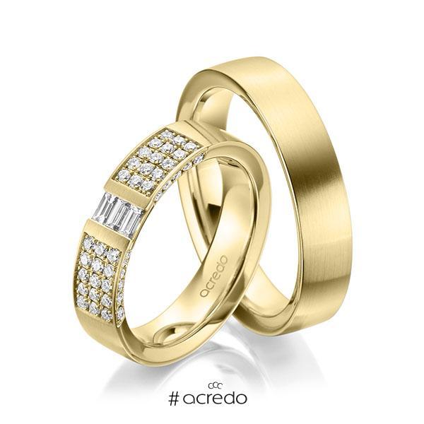 Paar klassische Trauringe/Eheringe in Gelbgold 585 mit zus. 0,61 ct. Brillant & Baguette-Diamant tw, si tw, vs von acredo