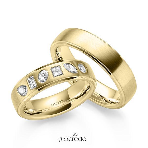 Paar klassische Trauringe/Eheringe in Gelbgold 585 mit zus. 0,64 ct. Baguette-Diamant & Prinzess-Diamant & Brillant tw, vs tw, si von acredo