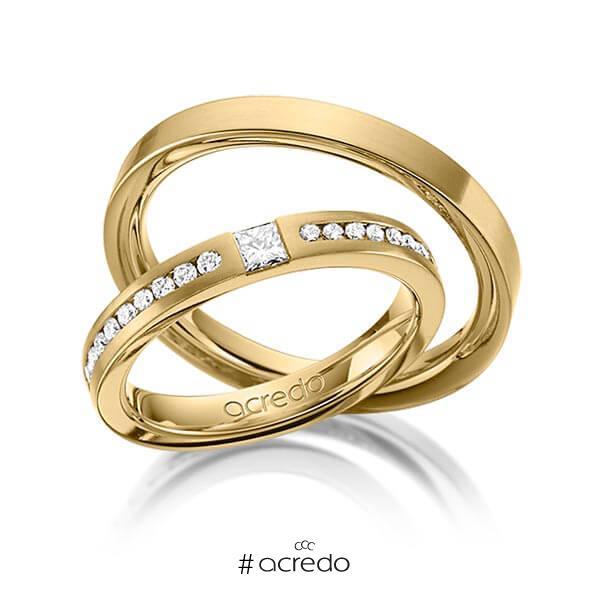Paar klassische Trauringe/Eheringe in Gelbgold 585 mit zus. 0,72 ct. Brillant & Prinzess-Diamant tw, si von acredo