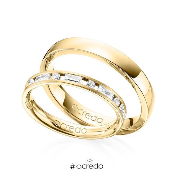 Paar klassische Trauringe/Eheringe in Gelbgold 585 mit zus. 0,765 ct. Brillant & Baguette-Diamant tw, si tw, vs von acredo