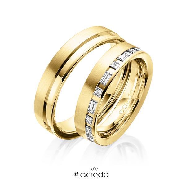 Paar klassische Trauringe/Eheringe in Gelbgold 585 mit zus. 0,9 ct. Prinzess-Diamant & Baguette-Diamant tw, si tw, vs von acredo
