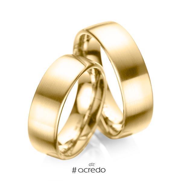 Paar klassische Trauringe/Eheringe in Gelbgold 585 von acredo
