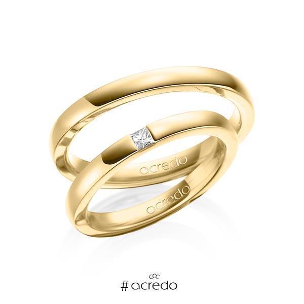 Paar klassische Trauringe/Eheringe in Gelbgold 750 mit zus. 0,07 ct. Prinzess-Diamant tw, si von acredo