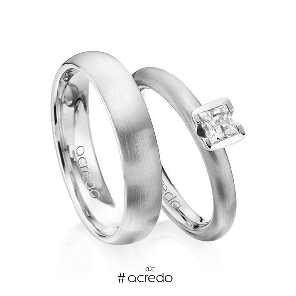 Paar klassische Trauringe/Eheringe in Graugold 585 mit 0,4 ct. Prinzess-Diamant tw, vs von acredo