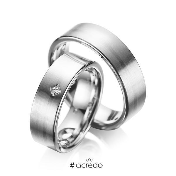 Paar klassische Trauringe/Eheringe in Graugold 585 mit zus. 0,03 ct. Prinzess-Diamant tw, si von acredo