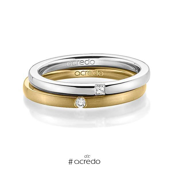 Paar klassische Trauringe/Eheringe in Graugold 585 mit zus. 0,055 ct. Prinzess-Diamant & Brillant tw, si von acredo