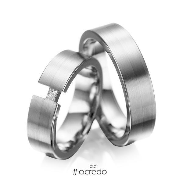 Paar klassische Trauringe/Eheringe in Graugold 585 mit zus. 0,05 ct. Prinzess-Diamant tw, si von acredo