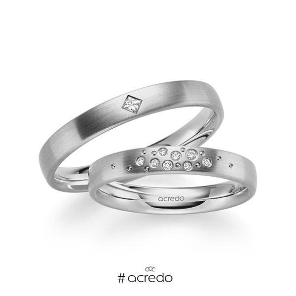 Paar klassische Trauringe/Eheringe in Graugold 585 mit zus. 0,081 ct. Brillant & Prinzess-Diamant tw, si von acredo