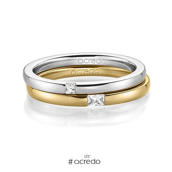 Paar klassische Trauringe/Eheringe in Graugold 585 mit zus. 0,1 ct. Prinzess-Diamant & Baguette-Diamant tw, si tw, vs von acredo