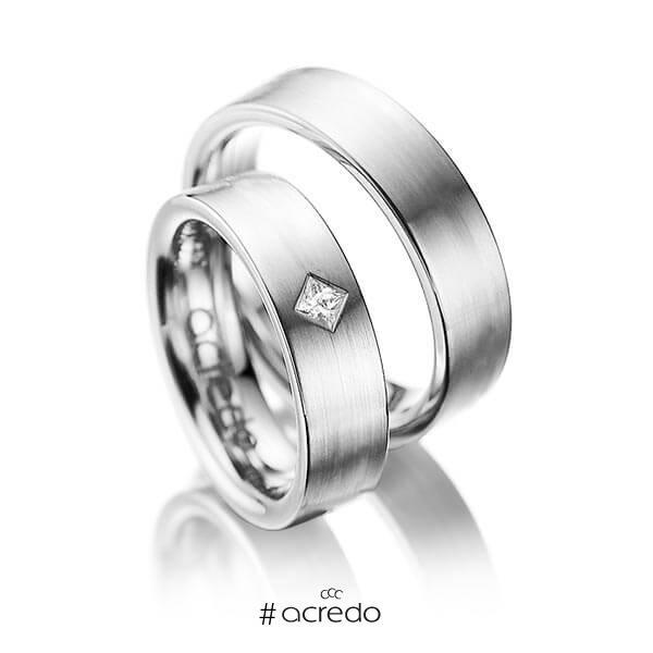 Paar klassische Trauringe/Eheringe in Graugold 585 mit zus. 0,1 ct. Prinzess-Diamant tw, si von acredo