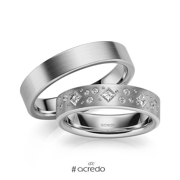 Paar klassische Trauringe/Eheringe in Graugold 585 mit zus. 0,226 ct. Brillant & Prinzess-Diamant tw, si von acredo