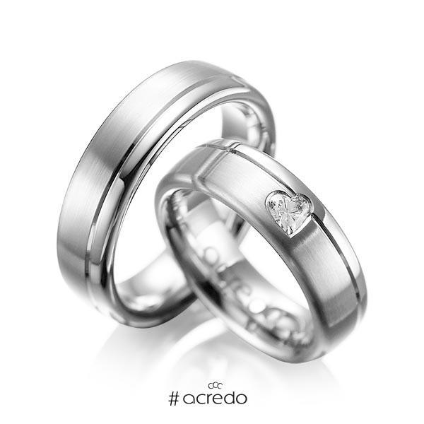 Paar klassische Trauringe/Eheringe in Graugold 585 mit zus. 0,22 ct. Herz-Diamant tw, vs von acredo