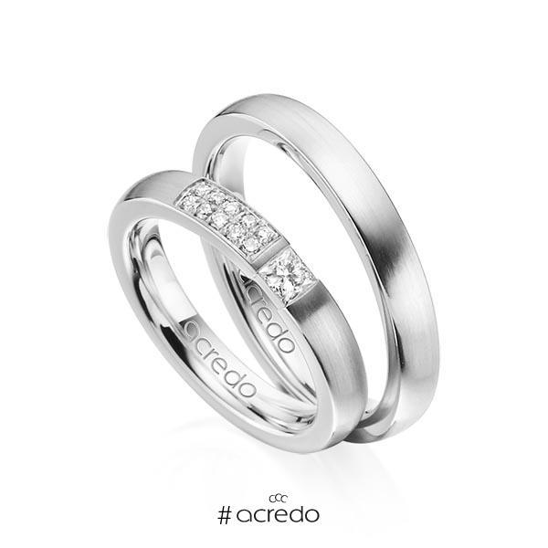 Paar klassische Trauringe/Eheringe in Graugold 585 mit zus. 0,25 ct. Prinzess-Diamant & Brillant tw, si von acredo