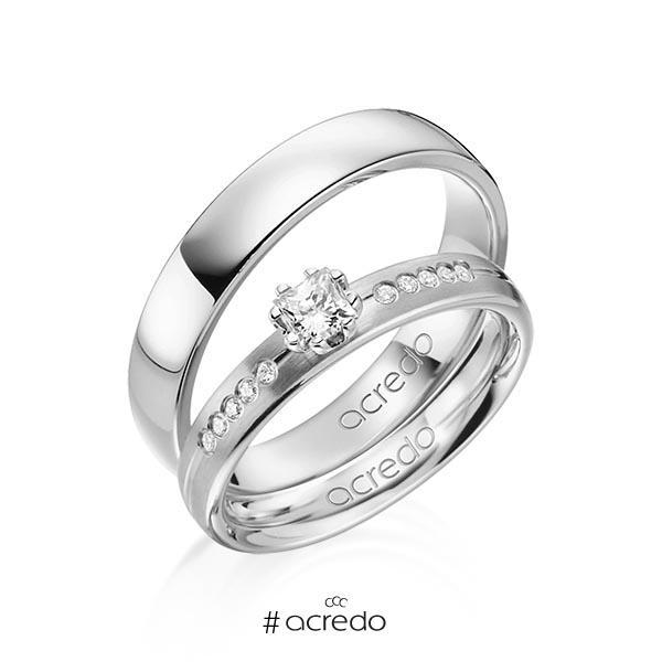 Paar klassische Trauringe/Eheringe in Graugold 585 mit zus. 0,33 ct. Prinzess-Diamant & Brillant tw, si von acredo