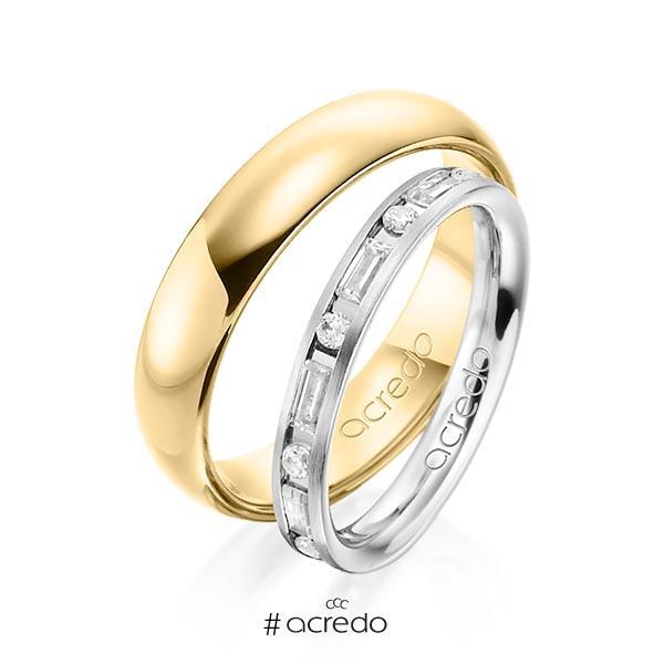 Paar klassische Trauringe/Eheringe in Graugold 585 mit zus. 0,765 ct. Brillant & Baguette-Diamant tw, si tw, vs von acredo