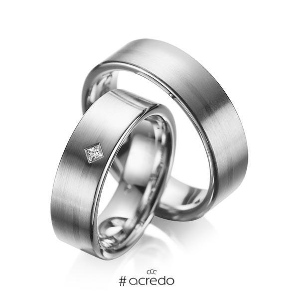 Paar klassische Trauringe/Eheringe in Graugold dunkel 585 mit zus. 0,03 ct. Prinzess-Diamant tw, si von acredo