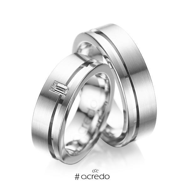 Paar klassische Trauringe/Eheringe in Palladium 950 mit zus. 0,12 ct. Baguette-Diamant tw, vs von acredo
